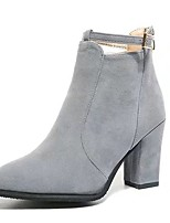 Women's Shoes Suede Fall Fashion Boots Boots Chunky Heel Round Toe Zipper For Casual Khaki Gray Black
