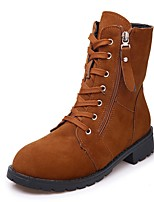 Women's Shoes PU Fall Winter Combat Boots Boots Low Heel Round Toe Mid-Calf Boots Lace-up For Casual Light Brown Black