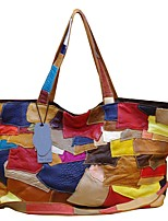 Women Bags All Seasons Cowhide Shoulder Bag with Tiered for Shopping Casual Rainbow