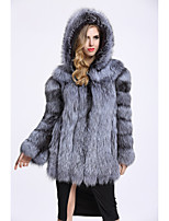 Women's Daily Sophisticated Winter Fall Fur Coat,Solid Hooded Regular Fox Fur