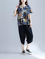 T-shirt Da donna Casual Semplice Estate,Con stampe Rotonda Cotone Manica corta Sottile