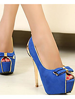 Women's Shoes Nubuck leather Spring Summer Comfort Basic Pump Heels for Casual Black Fuchsia Blue