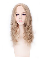 Women Synthetic Wig Capless Long Natural Wave Water Wave Flaxen Middle Part Lolita Wig Party Wig Halloween Wig Cosplay Wig Natural Wigs