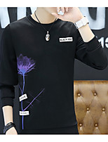Men's Daily Sweatshirt Print Crew Neck Micro-elastic Cotton Long Sleeve Winter Fall