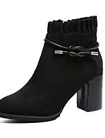 Women's Shoes Cashmere Fall Fashion Boots Boots Block Heel Round Toe Zipper For Casual Brown Black