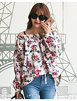 Women's Daily Holiday Active Shirt,Floral Off Shoulder Long Sleeves Acrylic Thin