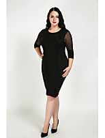 Cute Ann Women's Plus Size Casual/Daily Sexy Simple Cute Sheath Dress,Patchwork Round Neck Knee-length Half Sleeves Cotton Polyester All Seasons