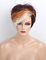 Women Human Hair Capless Wigs Chestnut Brown/Bleach Blonde Short Straight Side Part Hot Sale Highlighted/Balayage Hair