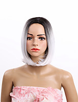 Women Synthetic Wig Capless Short Straight Black/Grey Side Part Dark Roots Bob Haircut Natural Wigs Costume Wig