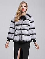 Women's Daily Sophisticated Winter Fall Fur Coat,Color Block Round Neck Short Fox Fur