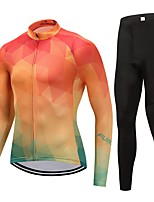 Cycling Jersey with Tights Unisex Long Sleeves Bike Clothing Suits Fast Dry Solid Winter Cycling/Bike Orange