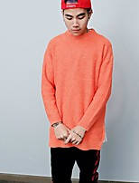 Men's Casual/Daily Simple Regular Pullover,Print Round Neck Long Sleeves Polyester Fall Medium Micro-elastic