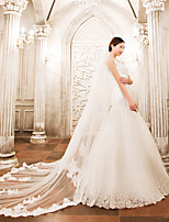 Two-tier Wedding Veil Cathedral Veils With Applique Lace Tulle