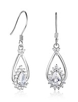 Women's Hoop Earrings Cubic Zirconia Tassel Sterling Silver Drop Jewelry For Gift Christmas