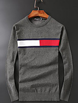 Men's Casual/Daily Simple Regular Pullover,Solid Color Block Round Neck Long Sleeves Wool Fall Medium Micro-elastic