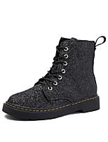 Women's Shoes Paillette Fall Snow Boots Boots Flat Heel Round Toe Lace-up For Casual Blue Black