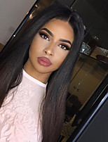 Women Human Hair Lace Wig Brazilian Remy Glueless Lace Front 130% Density With Baby Hair Straight Wig Black/Medium Browm Short Medium