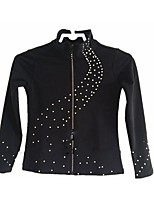 Figure Skating Fleece Jacket Women's Girls' Ice Skating Dress Black Stretchy Dots Practise Stretchy Long Sleeves Skating Wear Ice Skating