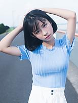 Tee-shirt Femme,Couleur Pleine Décontracté / Quotidien Mignon Manches Courtes Col Arrondi Coton