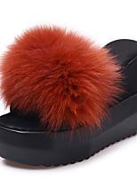 Women's Shoes PU Fall Winter Comfort Slippers & Flip-Flops Wedge Heel Open Toe For Casual Burgundy Light Brown Black