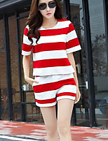 Women's Casual/Daily Simple Summer T-shirt Pant Suits,Solid Round Neck Short Sleeve