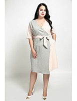 Cute Ann Women's Plus Size Casual/Daily Sexy Cute Street chic Sheath Dress,Color Block V Neck Knee-length Half Sleeves Cotton Polyester All