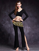 Shall We Belly Dance Outfits Women's Training Modal Spandex Long Sleeve Dropped Tops Pants Waist Accessory