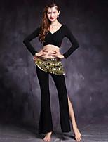 Dança do Ventre Roupa Mulheres Treino Modal Elastano Manga Comprida Caído Blusas Calças Acessórios de Cintura