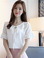 Women's Daily Casual T-shirt,Solid Round Neck Short Sleeves Polyester