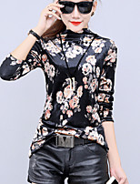 Women's Going out Plus Size Winter Fall T-shirt,Print Turtleneck Long Sleeves Others Medium