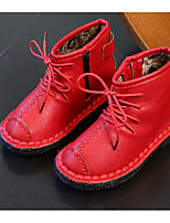 Girls' Shoes Leatherette Fall Winter Bootie Boots For Casual Red Brown Black