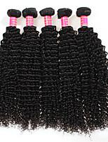 Недорогие -Необработанные Перуанские волосы Кудрявый вьющиеся Наращивание волос 4 предмета Черный