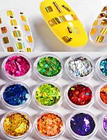 12 rectangles de couleur laser paillettes colorées 1g / boîte