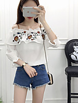 Women's Going out Casual Chinoiserie Blouse,Solid Embroidery Boat Neck Long Sleeves Acrylic