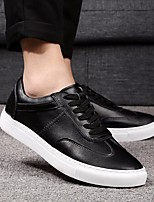 Men's Shoes Real Leather Spring Fall Comfort Sneakers For Casual White Black