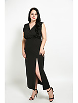 Cute Ann Women's Plus Size Casual/Daily Sexy Vintage Simple Shift Dress,Solid V Neck Maxi Sleeveless Cotton Polyester All Seasons Fall Mid Rise