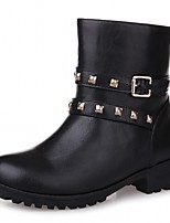 Women's Shoes PU Leatherette Fall Winter Comfort Novelty Bootie Boots Chunky Heel Round Toe Booties/Ankle Boots Rivet For Party & Evening