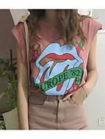 Mujer Simple Casual/Diario Camiseta,Escote Redondo Un Color Estampado Sin Mangas Algodón Lino