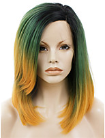 Men Synthetic Wig Lace Front Medium Length Straight Yellow Ombre Hair Dark Roots Natural Hairline Drag Wig Party Wig Halloween Wig