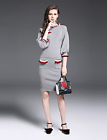 YIYEXINXIANG Women's Going out Casual/Daily Simple Summer T-shirt Skirt Suits,Solid Round Neck ¾ Sleeve Stretchy
