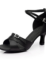 Women's Latin Silk Indoor Customized Heel Black Customizable