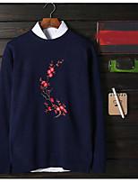 Standard Pullover Da uomo-Casual Semplice Con stampe Rotonda Manica lunga Poliestere Autunno Medio spessore Media elasticità
