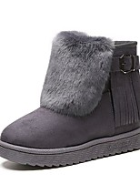 Women's Shoes Cashmere Fall Snow Boots Boots Flat Heel Round Toe Tassel For Casual Gray Black