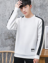 Men's Going out Sweatshirt Color Block Round Neck Micro-elastic Others ¾ Sleeve Spring Fall