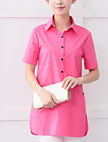 Women's Daily Casual Shirt,Solid Shirt Collar Short Sleeves Cotton Others