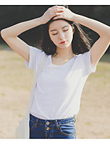Women's Daily Casual T-shirt,Solid V Neck Short Sleeves Cotton