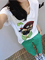Women's Going out Summer T-shirt Pant Suits,Printing Artwork Round Neck Half Sleeves