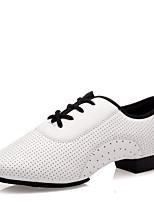 Women's Dance Sneakers Nappa Leather Split Sole Heel Outdoor Low Heel White 1
