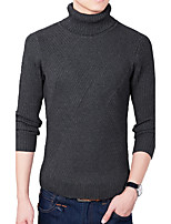 Men's Plus Size Casual/Daily Simple Regular Pullover,Solid Turtleneck Long Sleeves Acrylic Polyester Fall Winter Medium Micro-elastic