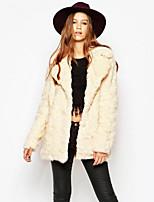 Women's Daily Simple Casual Winter Fall Fur Coat,Solid Notch Lapel Long Rex Rabbit Fur